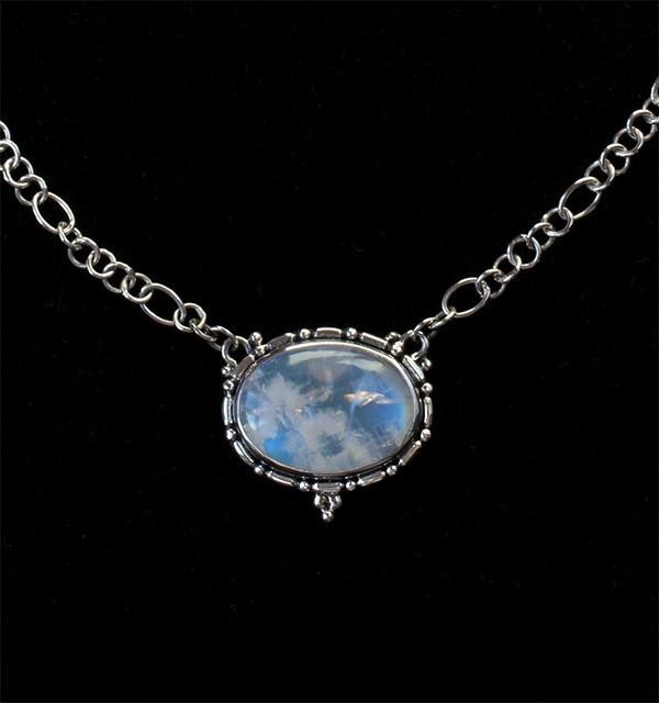 Oval Rainbow Moonstone Necklace
