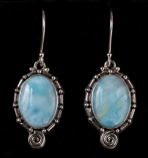 Silver Oval Larimar Earrings handcrafted in Sterling Silver
