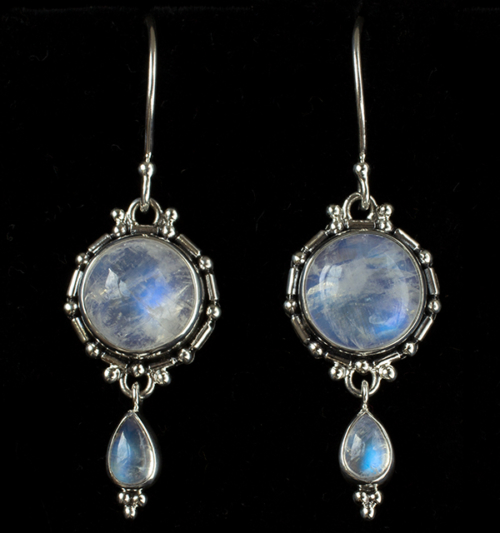 Balinese Moonstone Drop Earrings handcrafted in Sterling Silver with Rainbow Moonstones