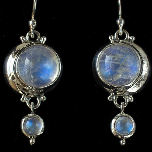 Moonstone Crescent Moon Earrings handcrafted in Sterling Silver