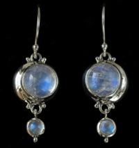 Moonstone Crescent Moon Earrings handcrafted in Sterling Silver with Rainbow Moonstones