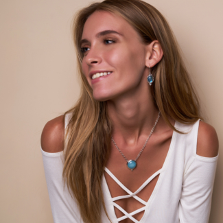 Sterling Silver Larimar Labradorite Jewelry handcrafted by Bluemoonstone Creations