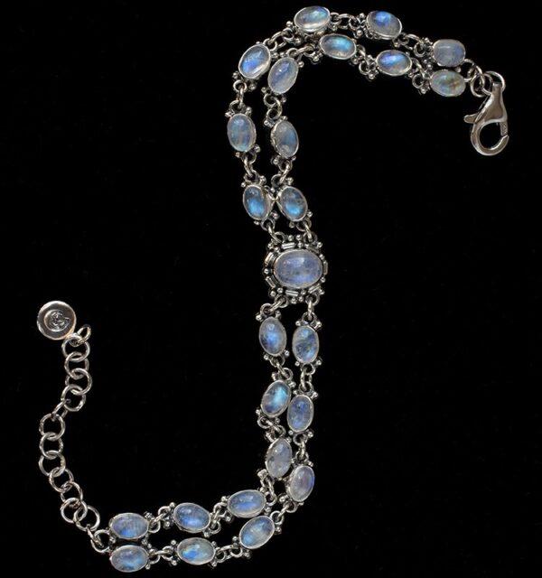 Multi Rainbow Moonstone Bracelet handcrafted in Sterling Silver