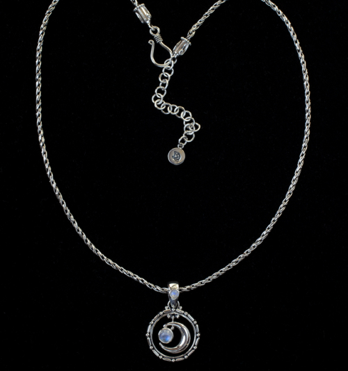 Moonstone Crescent Moon Necklace handcrafted in Sterling Silver in a Balinese design