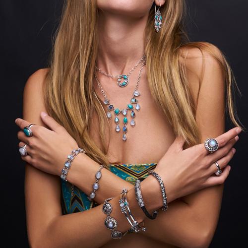 Sterling Silver Celestial Gemstone Bangle