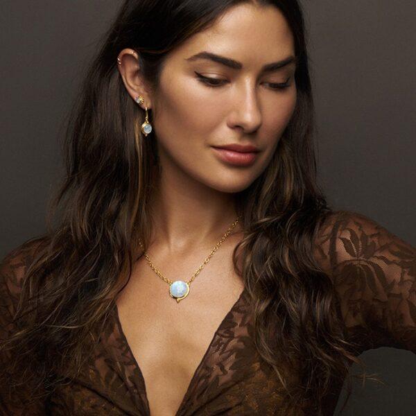 Gold Round Moonstone Earrings