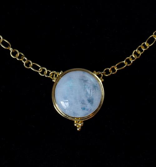 18K Gold Vermeil Rainbow Moonstone Necklace