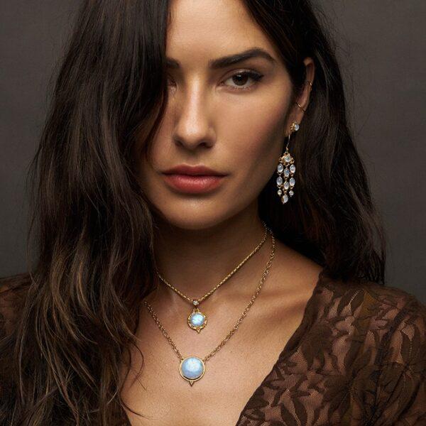 Gold Moonstone Chandelier Earrings