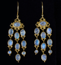 Gold Moonstone Chandelier Earrings