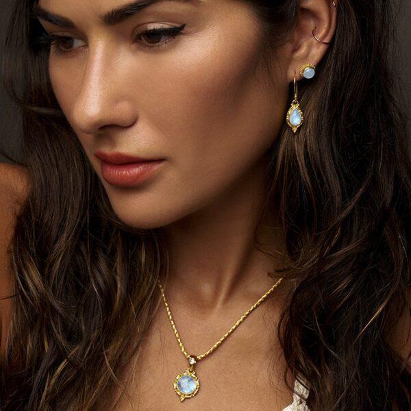 Gold Vermeil Rainbow Moonstone Necklace