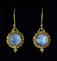 Gold Balinese Moonstone Earrings