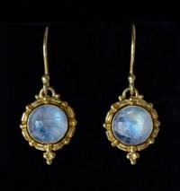 Gold Balinese Moonstone Earrings