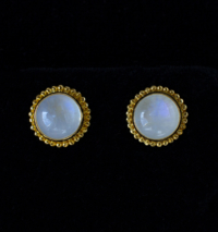 Gold Rainbow Moonstone Studs
