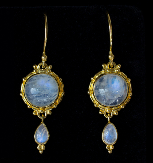 Gold Dangling Moonstone Earrings