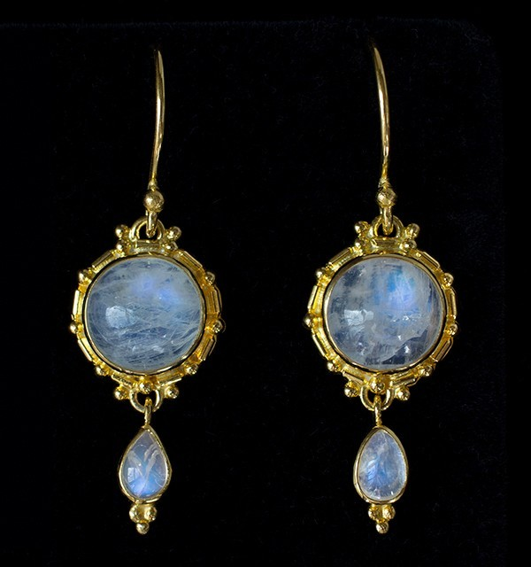 Gold Dangling Moonstone Earrings