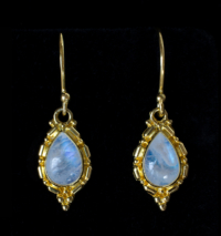 Gold Rainbow Moonstone Earrings