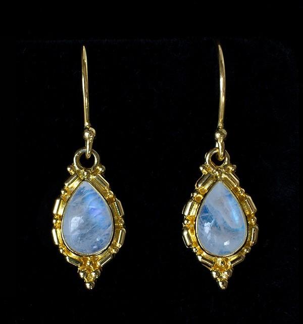Gold Rainbow Moonstone Earrings