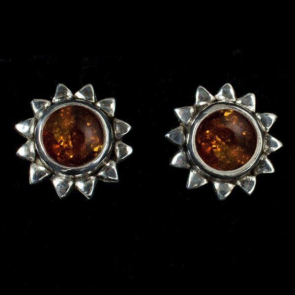 Amber Sun Stud Earrings