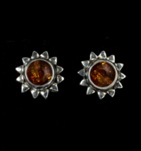 Amber Sun Stud Earrings