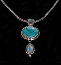 Sterling Silver Turquoise Moonstone Necklace