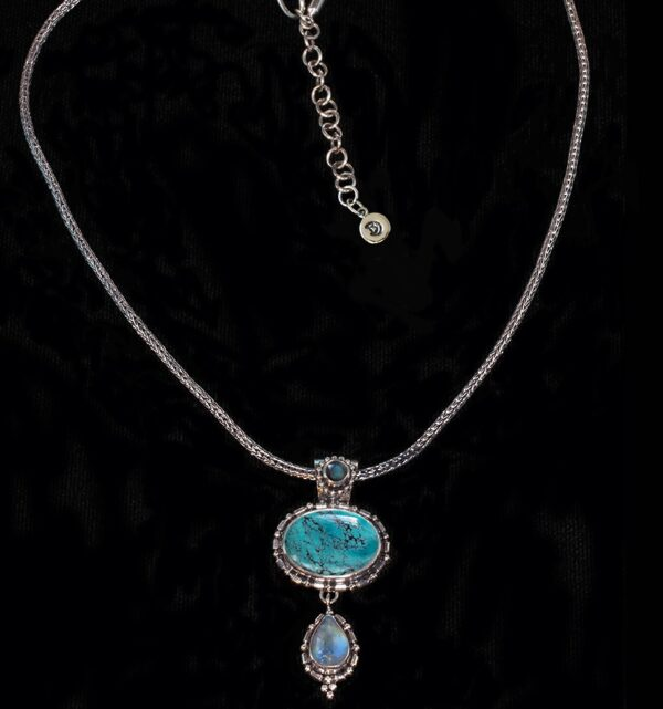 Silver Turquoise Moonstone Necklace