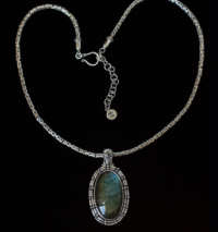 Large Oval Labradorite Necklace handcrafted in Sterling Silver.