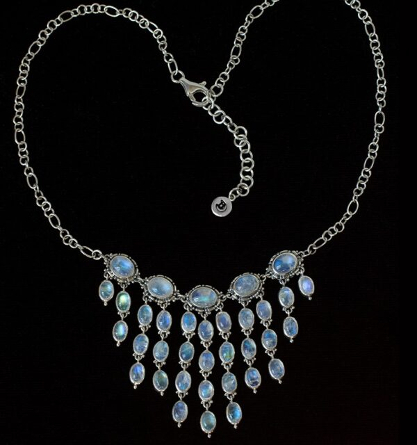 Silver Dangling Moonstone Necklace handcrafted in Sterling Silver.