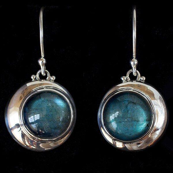 Labradorite Crescent Moon Earrings in Sterling Silver.