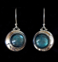 Labradorite Crescent Moon Earrings in Sterling Silver.