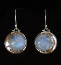 Crescent Moon Moonstone Earrings handcrafted in Sterling Silver.