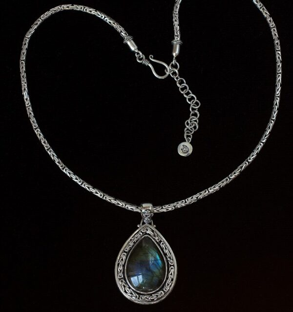 Large Teardrop Labradorite Necklace handcrafted in Sterling Silver.