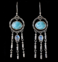 Silver Dangling Larimar Earrings with Rainbow Moonstones.