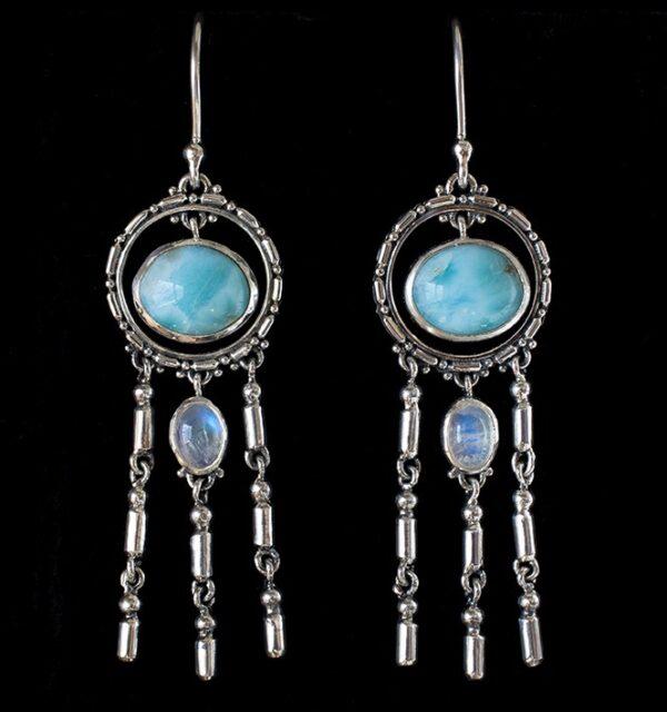 Silver Dangling Larimar Earrings with Rainbow Moonstones.