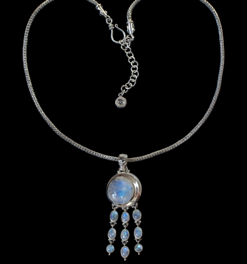 Moonstone Moon Drop Necklace handcrafted in Sterling Silver.