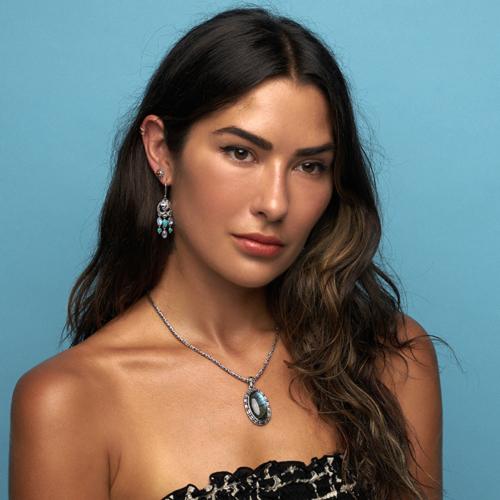 Dangling Gemstone Om Earrings with Rainbow Moonstones.