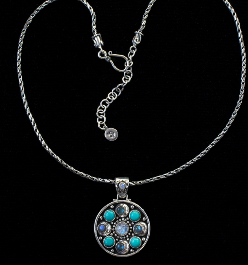 Multi-Gemstone Moon Orbit Necklace handcrafted in Sterling Silver.