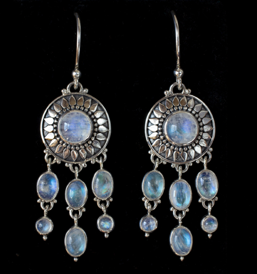 Dangling Moonstone Sun Earrings handcrafted in Sterling Silver.