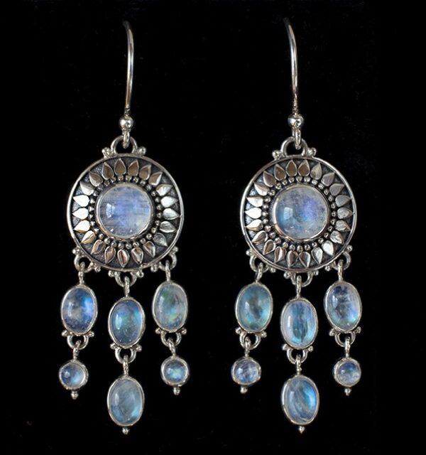 Dangling Moonstone Sun Earrings handcrafted in Sterling Silver.