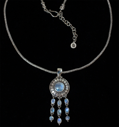 Dangling Moonstone Sun Necklace handcrafted in Sterling Silver.