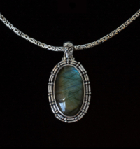 Large Oval Labradorite Necklace