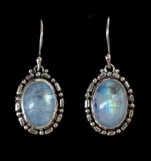Silver Oval Moonstone Earrings handcrafted in Sterling Silver.