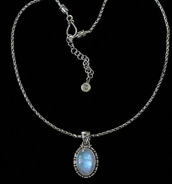 Oval Balinese Moonstone Necklace handcrafted in Sterling Silver.