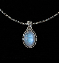Oval Balinese Rainbow Moonstone Necklace