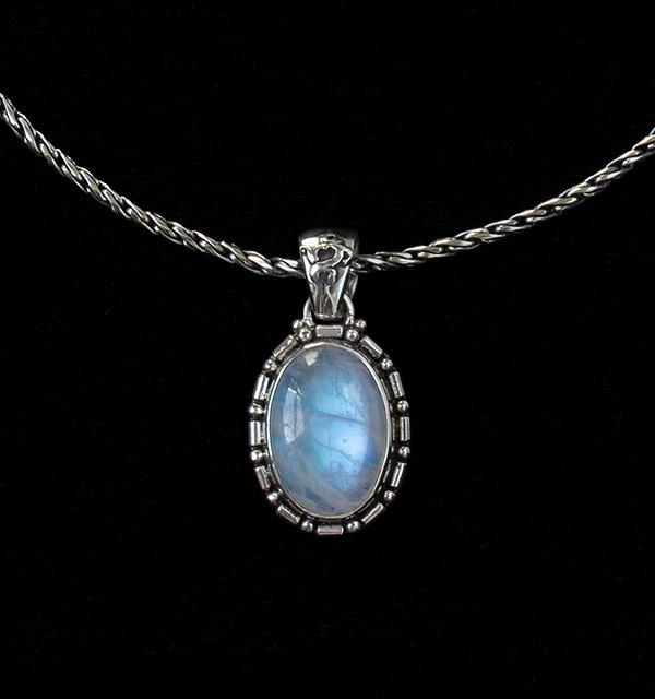 Oval Balinese Rainbow Moonstone Necklace