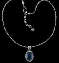 Oval Faceted Labradorite Necklace handcrafted in Sterling Silver.