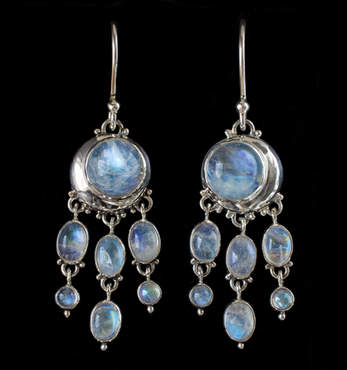 Moonstone Moon Drop Earrings handcrafted in Sterling Silver.