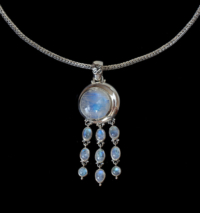 Dangling Rainbow Moonstone Moon Necklace