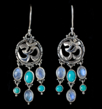 Dangling Gemstone Om Earrings with Rainbow Moonstones.