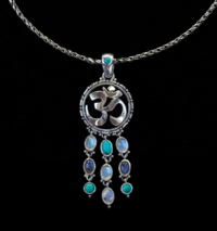 Sterling Silver Dangling Gemstone Om Necklace