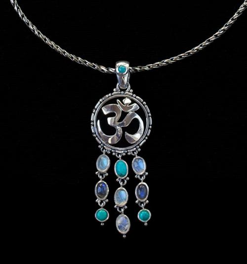 Sterling Silver Dangling Gemstone Om Necklace